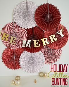 DIY holiday glitter bunting