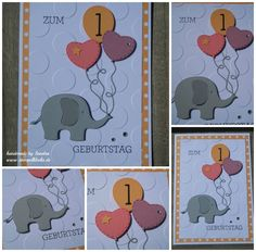 birthday card – stamping, punching and handicrafts with Stampin 'Up! – birthday card – stamping, punching and handicrafts with Stampin 'Up! Baby Shower Fall, Baby Shower Parties, 1st Birthday Cards, Happy Birthday, Baby Scrapbook, Scrapbook Cards, Little Elephant, Stamping Up, Scrapbooking Layouts