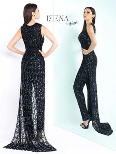 Deep v-neck, sleeveless, straight leg, sequined jumpsuit with sheer sequined train. Available in both black and red.