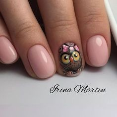 Are you looking for a trend for short nails in Are you struggling to make good-looking manicures without long nails? Owl Nail Art, Owl Nails, Fancy Nails, Cute Nails, Pretty Nails, Owl Nail Designs, Creative Nails, Manicure And Pedicure, Pedicures