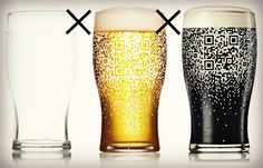 Guinness QR Pint Glass  Pretty cool way for a bar to message