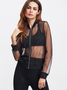 Shop Black Zip Up Sheer Mesh Bomber Jacket online. SheIn offers Black Zip Up Sheer Mesh Bomber Jacket & more to fit your fashionable needs.