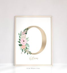 Nursery name sign Gold initial with watercolor flowers Blush pink gold Nursery name print Baby shower gift Farmhouse wall art Custom Pink Gold Nursery, Rose Nursery, Nursery Name, Nursery Decor, Girl Nursery, Baby Decor, Name Wall Art, Farmhouse Wall Art, Chalkboard Print