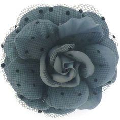 Grey Fabric & Dot Black Lace Layered Corsage Rose Flower Brooch