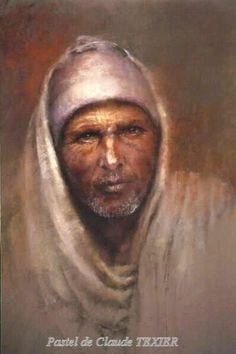 """Portrait pastel de Claude Texier """"L'Ethiopien"""" (63x43 cm)"""