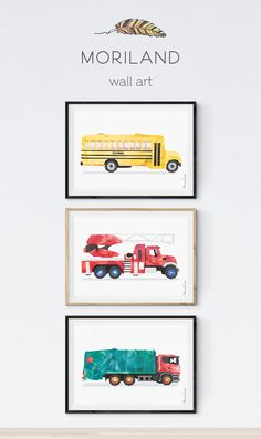 Garbage Truck Wall Art, Transportation Wall Art, Garbage Truck Birthday, Art Print, Trucks Nursery Decor, Truck Print, Toddler Truck Print, Fire truck wall art, Fire truck print, School bus wall art, School bus print
