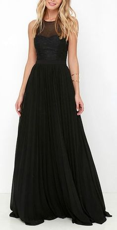 Charming Black Lace Prom Dress,Sleeveless Evening Dress, Long Chiffon Homecoming Dress,Floor Length Homecoming Gown