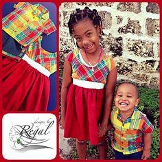 « ~Girls Madras Dress ~Boys Madras Shirt  #designsbyRegal #CelebratingCulture #dbR #CaribbeanFashion #Kidswear #Madras #Fashion #340 #VirginIslands»