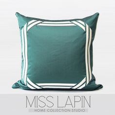 MISS LAPIN/法式/样板房/沙发床头/抱枕/湖蓝现代框立体绣花方枕