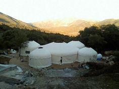 yurt village for kids and visitors and the stuff you were supposed to give up when you bought an moved into a yurt lol
