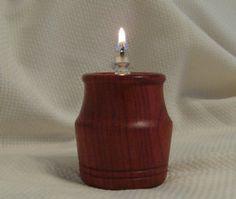 Miniature oil lamp made of padauk