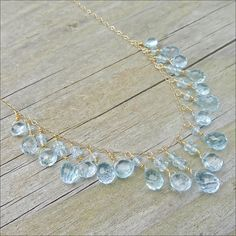 Swiss Blue Topaz Necklace  14K Gold Necklaces by CamileeDesigns,