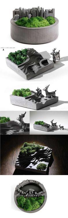 Concrete Handmade-Modern Round Succulent Planter Flower Pot Pen Pencil Holder Office Desk Stationery Organizer