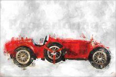 Poster Oldtimer  Alfa Romeo rot