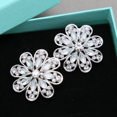 A Pair Of Silver Flower Shoe Clips Rhinestone by sweetygarden