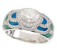 Hidalgo Diamonique Sterling Enamel Multi-Color Band Ring