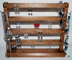 With love for wood - made by hand in the Czech Republic by Necklace Display, Necklace Holder, Earring Display, Jewelry Holder, Jewellery Display, Wall Mount Jewelry Organizer, Jewelry Organization, Hanging Earrings, Entryway Tables