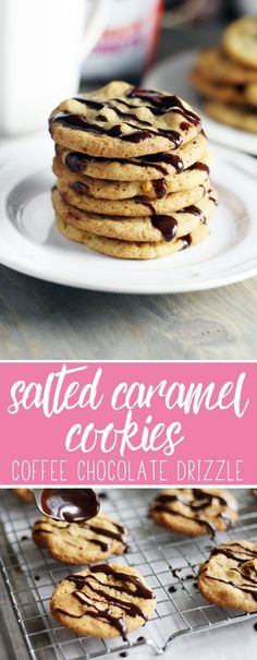 #ad #GrabHolidayHappiness  Buttery + golden Salted Caramel Cookies are perfected with Coffee Chocolate Drizzle. Plus coffee serving tips + DIY Gift Idea. With @Dunkin Donuts and @DollarGeneral