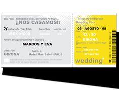 INVITACIONES BODA BILLETE AVIÓN  http://www.1001invitaciones.com/invitaciones/billete-de-avion-2/