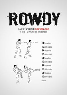 Rowdy is the kind of workout you get into when you want to blow off a little steam. Neila Rey Workout, Boxing Workout, Man Workout, Workout Plans, Workout Ideas, Fit Board Workouts, At Home Workouts, Workout Board, Full Body Workout Routine