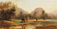 Landschaft bei Sitten, mit Blick auf den Hügel der Valeria par Karl Girardet