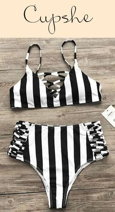 Before you jet off to that beach vacation, be sure to add the Cupshe Zebra Utopia Stripe Bikini Set to your cart! $23.99 Only with short  shipping time Now! This strappy bikini set features high waist design&triangle cup! Pick up more at Cupshe.com !