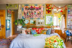 The Most Maximalist Bohemian Home Just Might Be on This Farm in Colorado MORE pillows on our bed ! The Most Maximalist Bohemian Home Just Might Be on This Farm in Colorado — House Call Bohemian Furniture, Bohemian Interior, Bohemian Decor, Bohemian Bedrooms, Modern Bohemian, Boho Chic, Bohemian Design, Boho Style, Shabby Chic