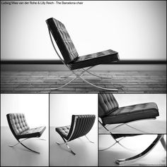The Barcelona chair - Mies Van Der Rohe & Lilly Reich. The Barcelona Chair and Stool (1929), originally created to furnish his German Pavilion at the International Exhibition in Barcelona, have come to epitomize modern design. Mies van der Rohe designed the chair to serve as seating for the king and queen of Spain, while the stool was intended to accommodate their attendants.