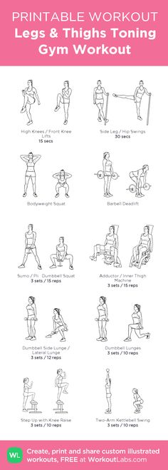 Legs & Thighs Toning Gym Workout:my visual workout created at WorkoutLabs.com • Click through to customize and download as a FREE PDF! #customworkout
