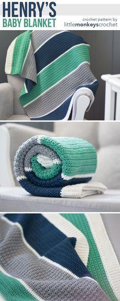 Henry's Baby Blanket Crochet Pattern | Free modern baby blanket crochet pattern by Little Monkeys Crochet | Boy Girl Gender Neutral Baby Blanket