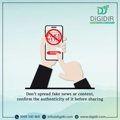 Daily we go through a lot of content on social media. Out of those, some content we even share with our friends and family members. But, do we check the authenticity and correctness of that content or news? Being a responsible citizen, we must check the correctness of any content before sharing. . . . . #Digidir #SayNoToFakeNews #SwachhSocialMedia #FackCheck #StopFakeNews #DontSpreadFakeNews #DontSpreadRumours #BeAGoodCitizen #BeResponsible Fake News, Citizen, Authenticity, No Response, Digital Marketing, Social Media, Content, Sayings, Friends