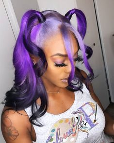 """Paradiseforeva on Instagram: """"Lace frontal wig made and custom colored by me and installed by me 😈😈😈☔️☔️💜 ⠀  Model: @aziab__"""""""
