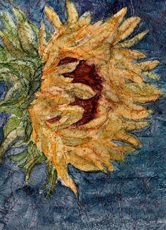 ArtByCrain: Faux Batik Sunflower