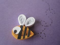 Bees on purple background, quilled art, greeting card, blank card, insects, animals