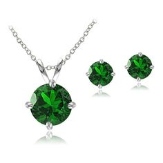 Lion Jewelers 2.75 Cttw Created ($26) ❤ liked on Polyvore featuring jewelry, green, jewelry & watches, green jewelry, dangling jewelry, green pendant, green jewelry sets and polish jewelry
