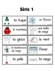 Hiver - Mots-étiquette Série 1 - Mots de vocabulaire Kindergarten Centers, Teaching Kindergarten, Core French, French Education, French Resources, Classroom Crafts, French Lessons, Teaching French, Winter Activities