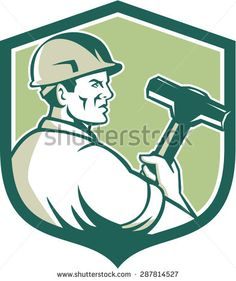 Illustration of a demolition worker wearing hardhat holding sledgehammer viewed from the side set inside shield crest on isolated background done in retro style.
