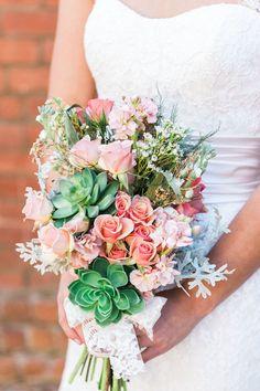 pink and succulent bouquet | Devon Donnahoo Photography | Glamour & Grace