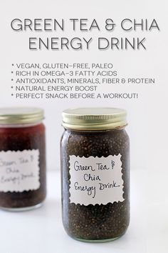 My green tea and chia energy drink recipe. Perfect for a healthy boost before a tough workout! 8 - 10 ounces filtered water 1 bag green tea (I used Numi Jasmine Green) 1 - 2 tablespoons chia seeds (depending on desired thickness) Healthy Drinks, Healthy Snacks, Healthy Eating, Healthy Recipes, Juice Smoothie, Smoothie Drinks, Smoothies, Diet Drinks, Superfood