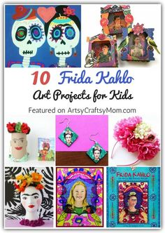 Frida Kahlo faced a lot of pain in her life, but she turned it all into art. Teach children about this incredible artist and personality with these 10 fantastic Frida Kahlo Art Projects for Kids. Art Lessons For Kids, Art Lessons Elementary, Art For Children, School Art Projects, Projects For Kids, Art School, Artist Project, Easy Video, Art Curriculum