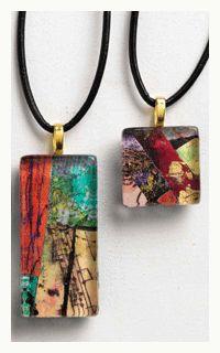 "Patty Szafranski's tutorial ""Art pendants: Mini Collage Under Glass,"" from Making Art to Wear: 5 free Mixed-Media Designs for Wearable Art. http://www.clothpaperscissors.com/making-wearable-art-and-mixed-media-jewelry/"