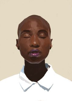 Portrait painting skin full face closed eyes woc acrylic