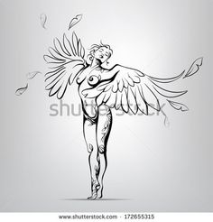 Girl with wings instead of hands. vector illustration