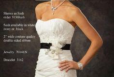 Black Wedding Dress Sash! Visit affordableelegancebridal.com for a large selection of wedding dress belts!