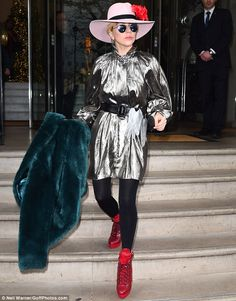 Go pretty in pale pink with Gaga's Gladys Tamez hat #DailyMail Click 'Visit' to buy now