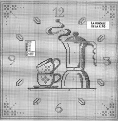 Cross stitch pattern, clock, coffee. Filet Crochet, Crochet Motifs, Free Cross Stitch Charts, Cross Stitch Patterns, Cross Stitching, Cross Stitch Embroidery, Handmade Clocks, Cross Stitch Kitchen, Cross Stitch Needles