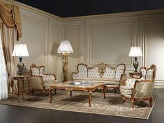 Italian Classic Luxury Wooden Living Room Furniture. | Chairs ...