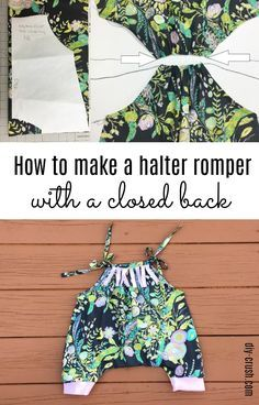 How to make a halter romper with a closed back. Free tutorial by DIY Crush