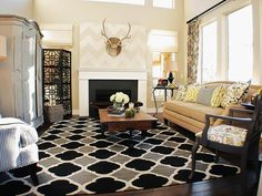 HGTV presents a garage-turned-contemporary living room that features a fireplace, floral chairs, striped walls, a neutral coffee table and a drum pendant light. Mustard Living Rooms, Living Room White, White Rooms, Living Room Carpet, Yellow Rooms, Eclectic Living Room, Chic Living Room, Rugs In Living Room, Living Room Decor