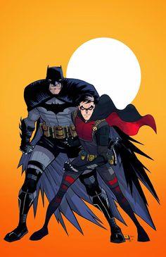 Batman & Robin by Dylan Burnett http://daily-superheroes.tumblr.com